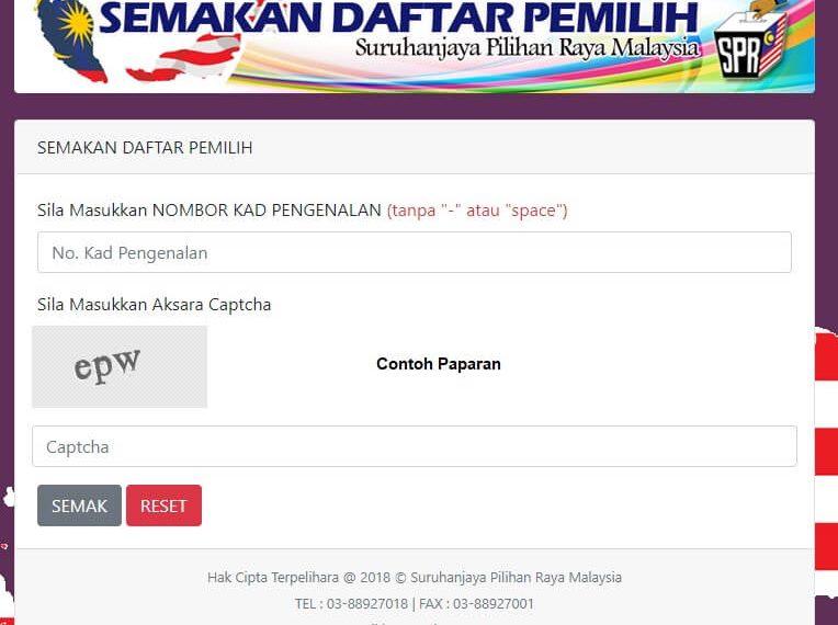 Semakan Daftar Pemilih Spr Online Terkini Portal Malaysia