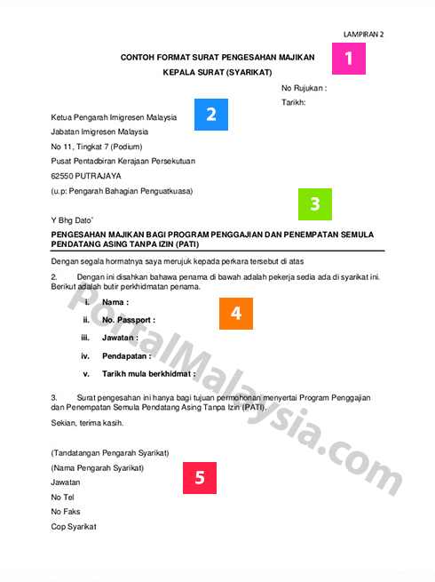 5 Contoh Surat Pengesahan Majikan Jawatan Portal Malaysia