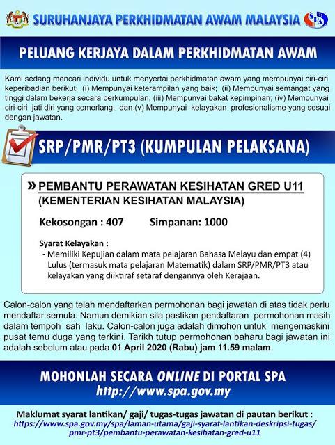 Kkm Buka 1407 Jawatan Pembantu Perawatan Kesihatan U11 Melalui Spa