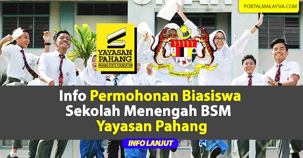 Info Permohonan Biasiswa Sekolah Menengah BSM Yayasan Pahang
