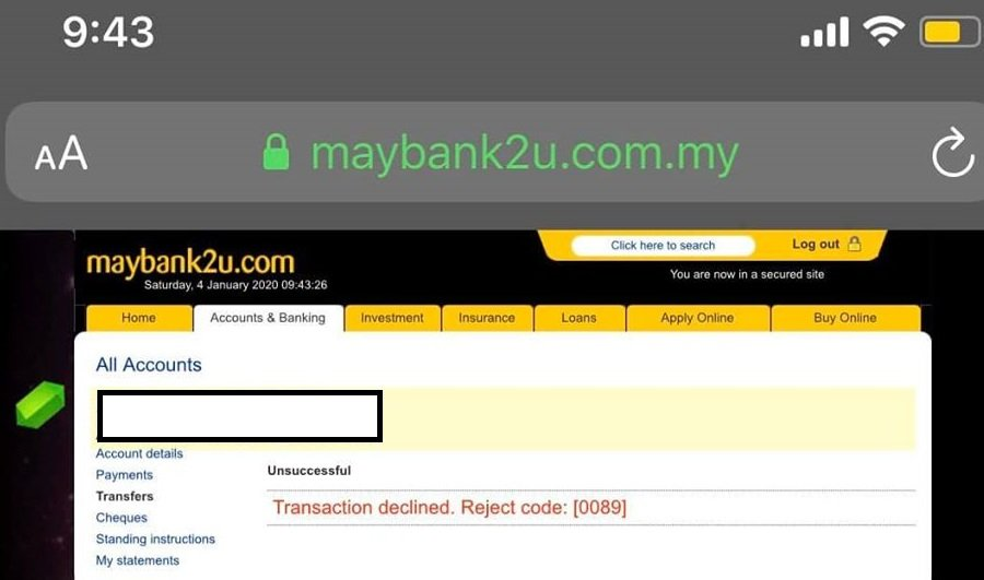 Reject Code 0089 Cara Solve Problem Transaction Declined Bank Portal Malaysia