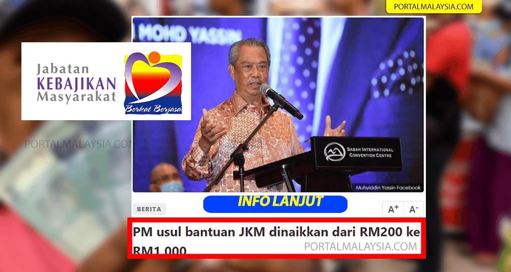 PM usul bantuan jkm naik rm1000