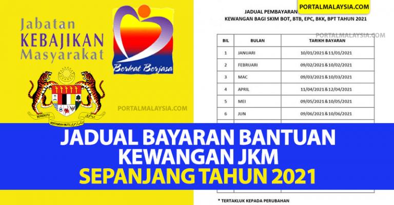 Jadual Bayaran Kewangan JKM Sepanjang Tahun 2021
