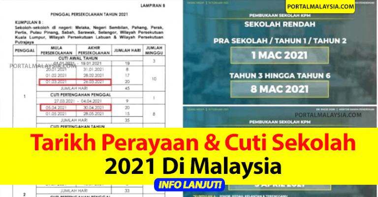 Tarikh Cuti Sekolah dan perayaan 2021 di Malaysia