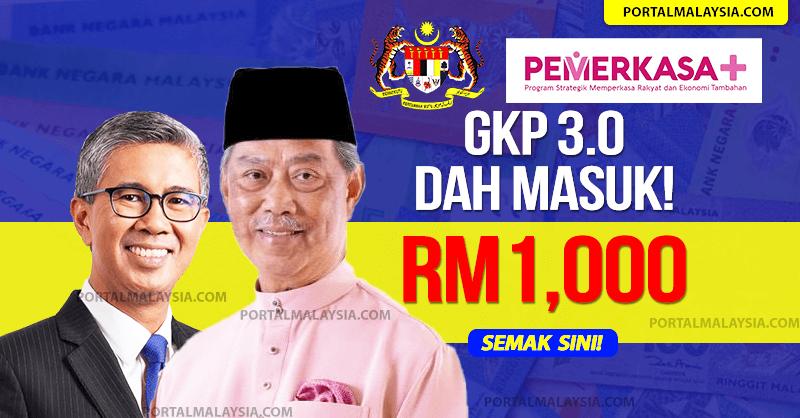 GKP 3.0 Tarikh Bayaran & Semakan RM1000 one off