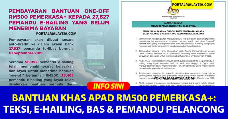 Bantuan Khas APAD RM500 PEMERKASA+: Teksi, e-Hailing, Bas & Pemandu Pelancong