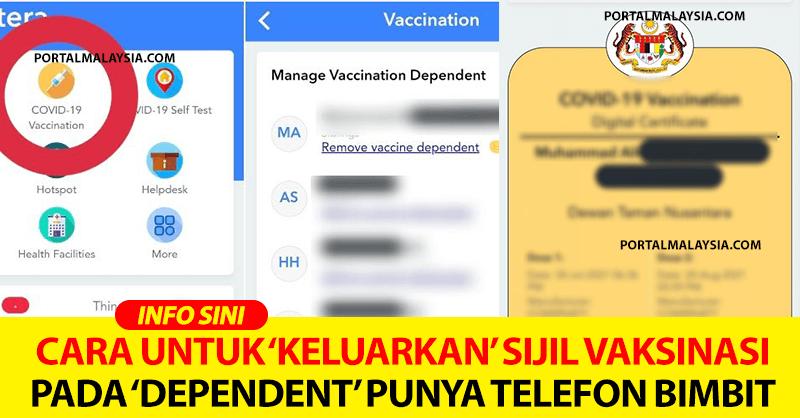 Cara Untuk 'Keluarkan' Sijil Vaksinasi Pada 'Dependent' Punya Telefon Bimbit